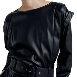 Zara Faux Vegan Black Leather Puffy Ruffle Sleeve Crop Top Size L