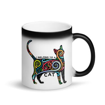I Belong to a Cat Animal Lover Matte Black Magic Coffee Mug