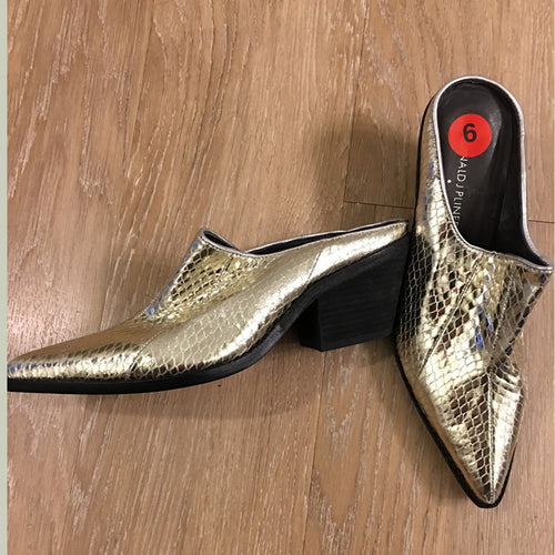 Donald J Pliner Soir Gold Snakeskin Leather Mule Size 6