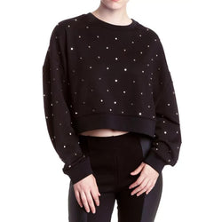 Romeo and Juliet Couture Studded Cropped Black Sweatshirt Size S