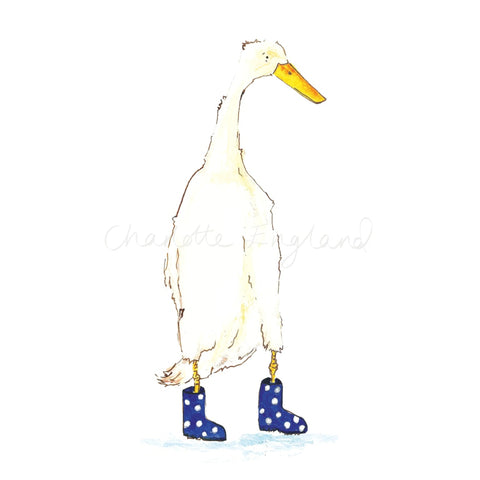 Duck In Blue Wellies A4 Print
