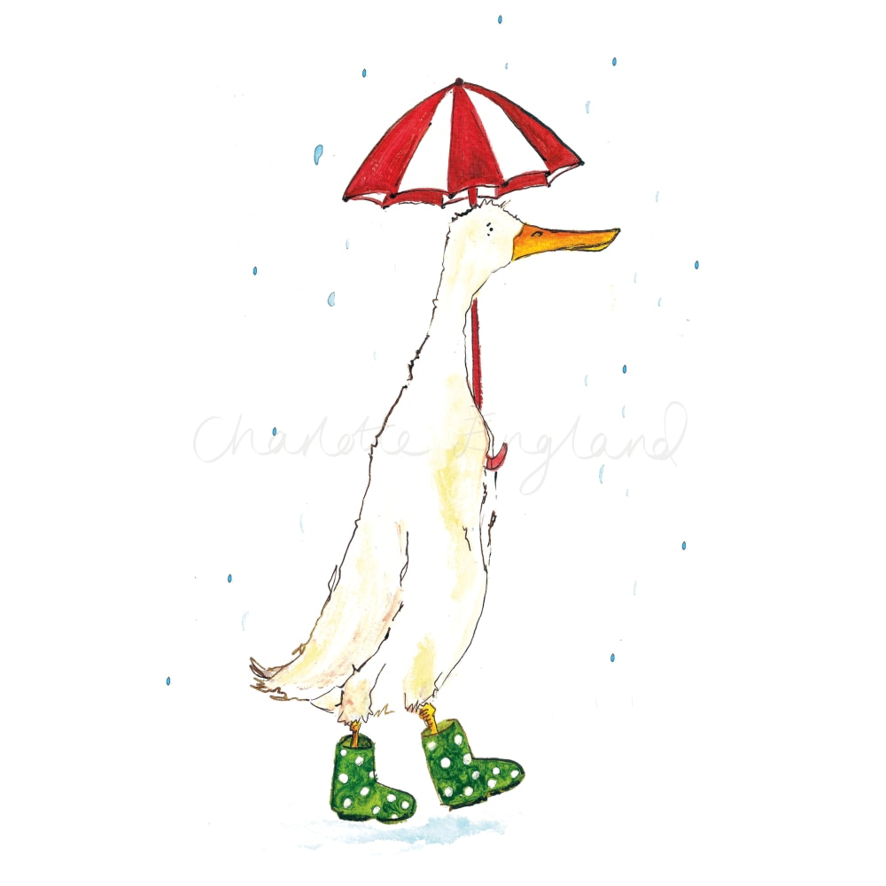 Duck In Green Wellies A4 Print