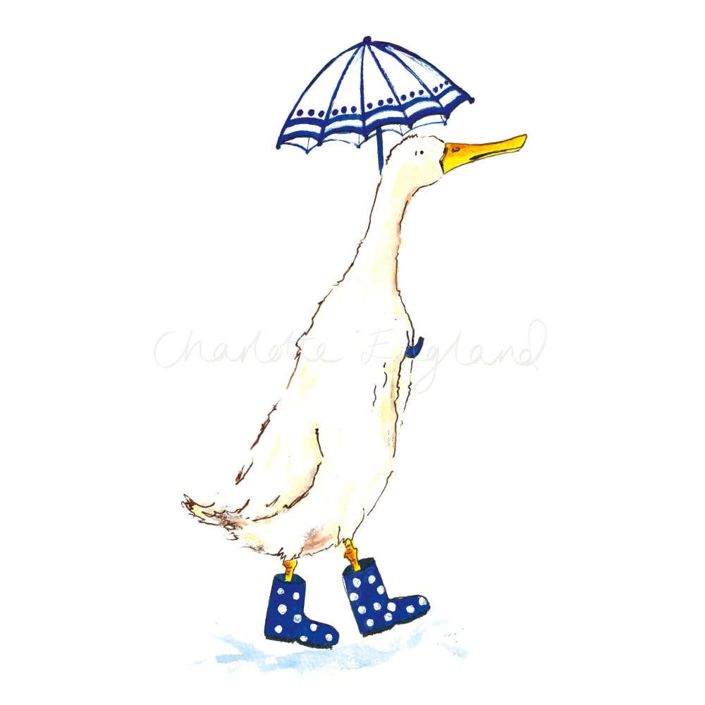 Duck with Blue Umbrella - Charlotte England Artist