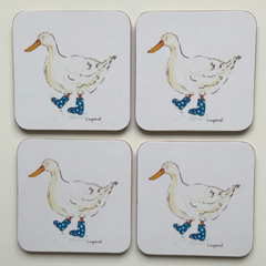Duck in Wellies Coasters Pack of 4