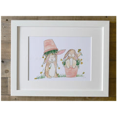 Flower Pot Bunnies Framed A4 Print