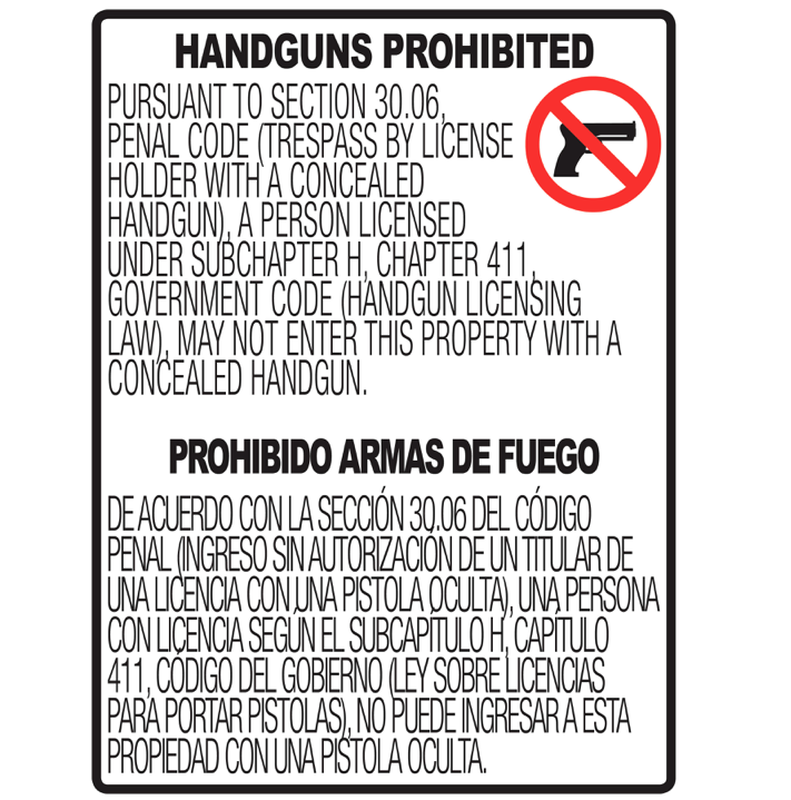 "30.06 No Concealed Carry Sign - 18x24"" Vertical"