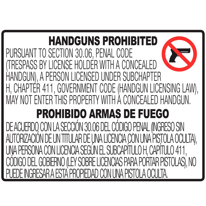 "30.06 No Concealed Carry Sign - 24x18"" Horizontal"