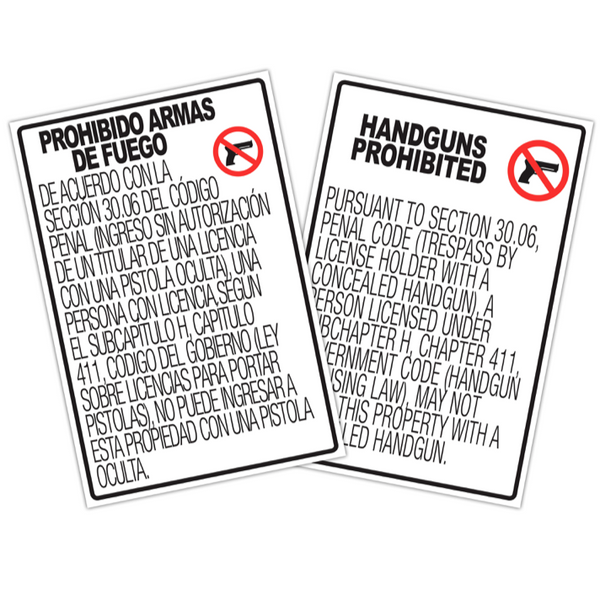"30.06 No Concealed Carry Signs - 12x18"" Set"