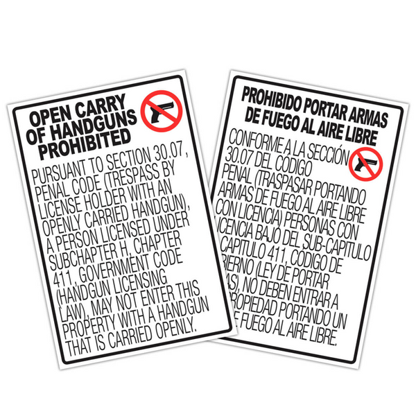 "30.07 No Open Carry Signs - 12x18"" Set"