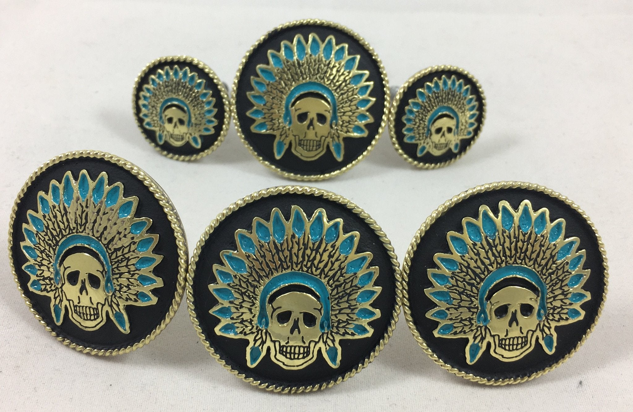 CBCONCH 124A Turquoise Indian Head Dress Conchos
