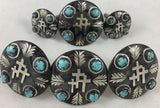 CBCONCH 129F Three Crosses Turquoise Stone Conchos