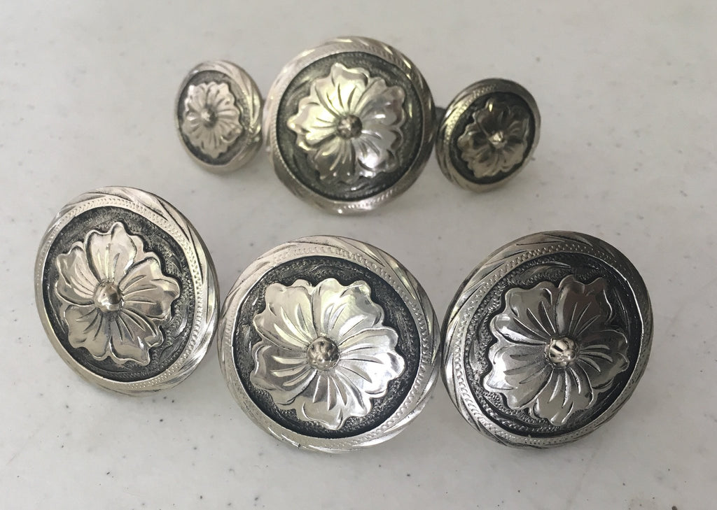 CBCONCH 115 Silver Flower Conchos