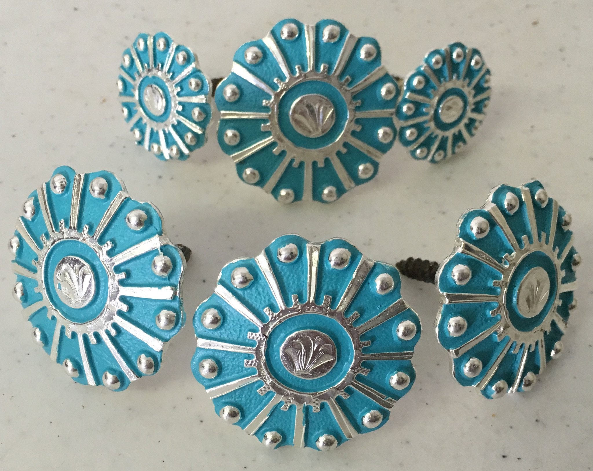CBCONCH 120 Turquoise Wagon Wheel Conchos