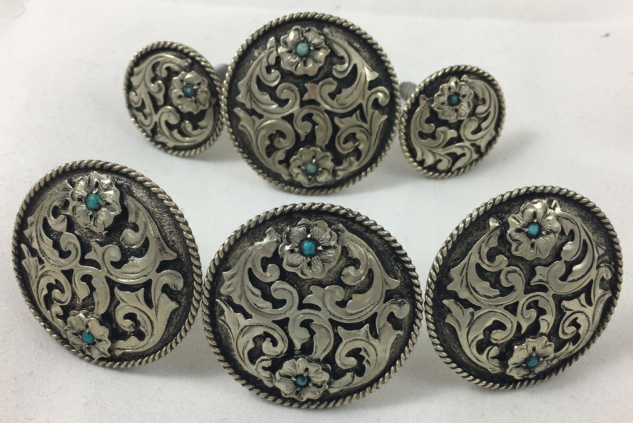 CBCONCH 122A Silver Filagre Turquoise Stone Conchos