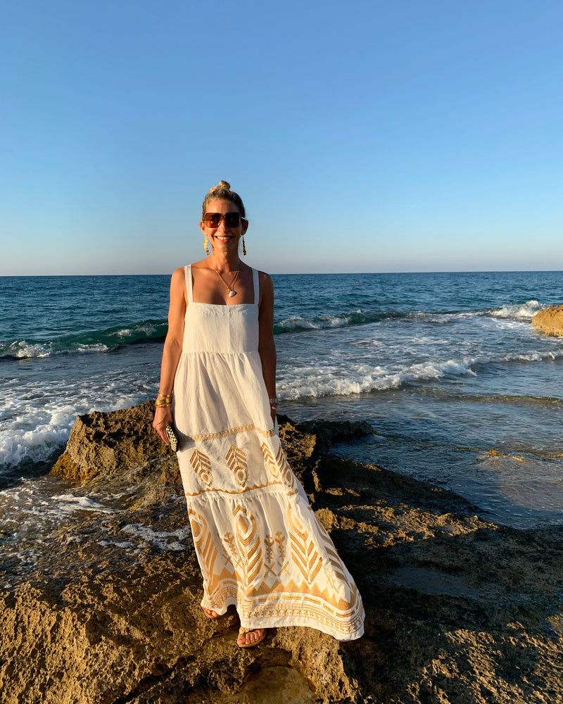 FEATHER LINEN STRAPPY DRESS WHITE/GOLD