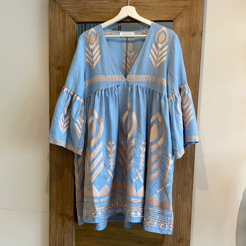 LINEN FEATHER DRESS LIGHT BLUE/PINK BRONZE