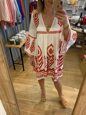 FEATHER LINEN DRESS WHITE/RED