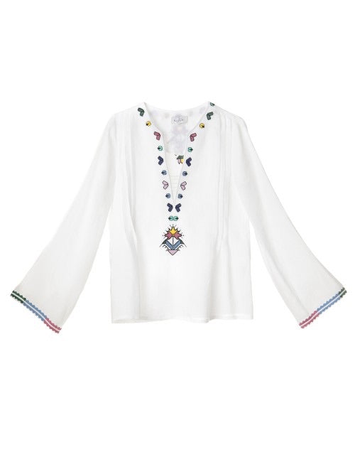 KALYMNOS EMBROIDERED LINEN BLOUSE