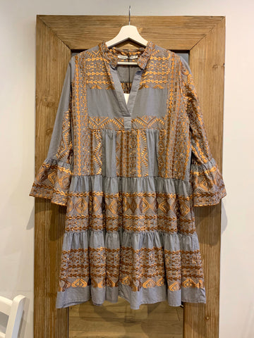SHORT EMBROIDERED DRESS GREY/BRONZE