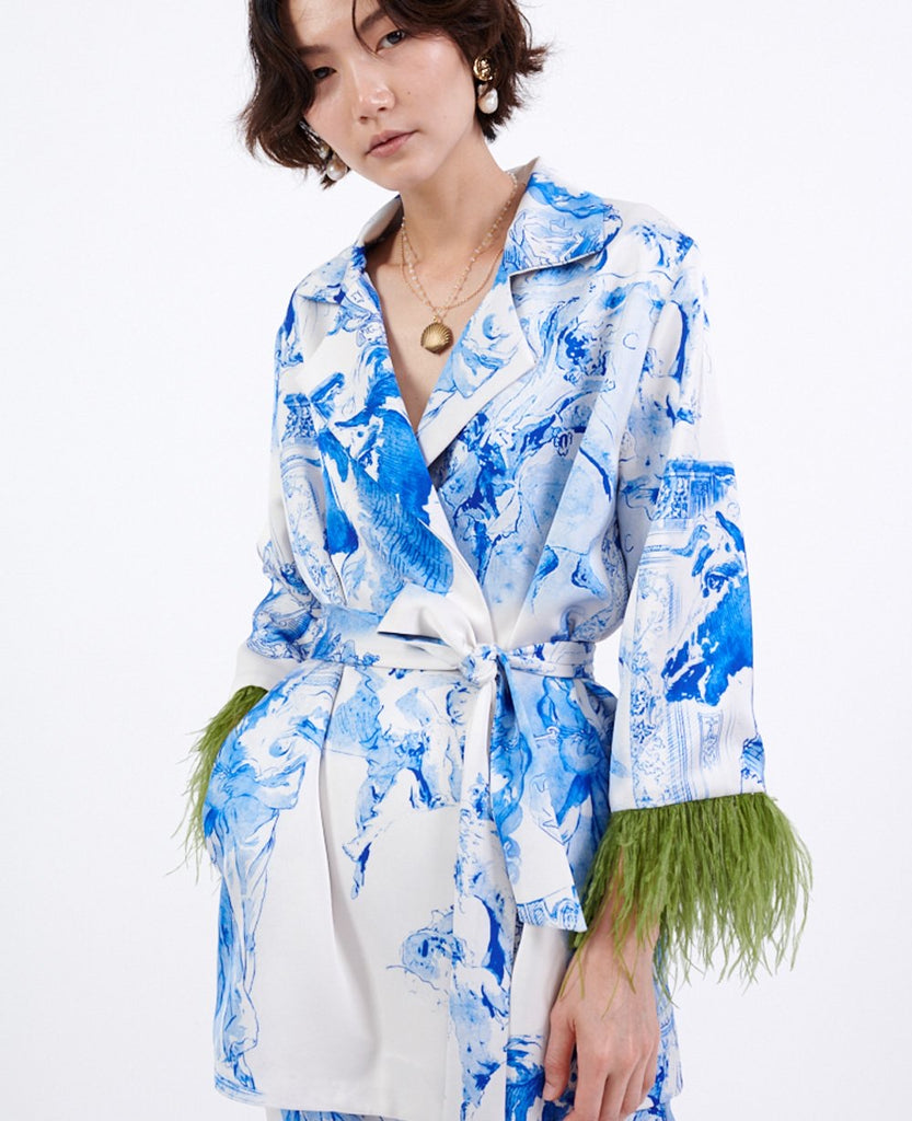 PRINTED ROBE BLAZER WITH FEATHERS WHITE/BLUE