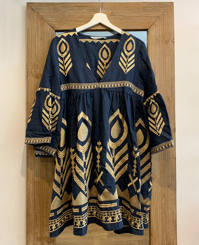 FEATHER LINEN DRESS NAVY/GOLD