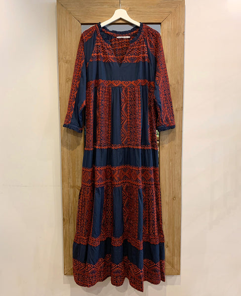 LONG EMBROIDERED DRESS NAVY/RED