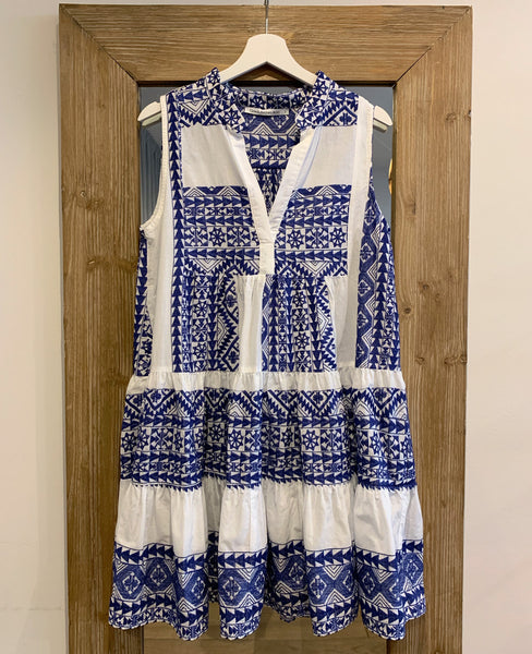 SHORT EMBROIDERED SLEEVELESS DRESS WHITE/BLUE