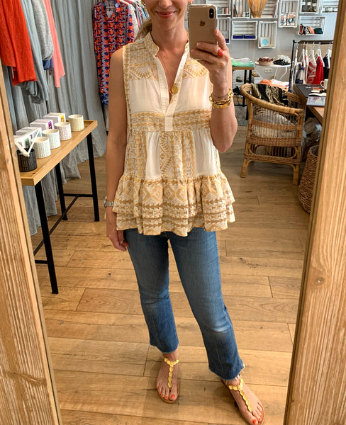 EMBROIDERED BLOUSE TOP WHITE/GOLD