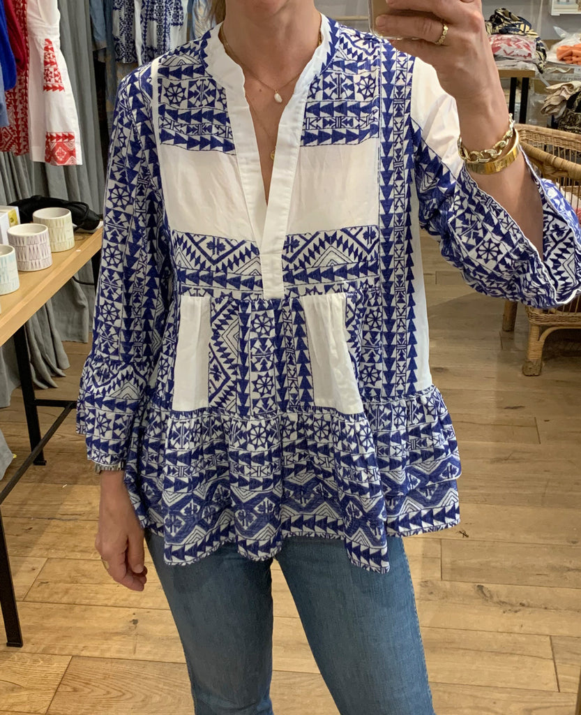 EMBROIDERED BLOUSE WHITE/BLUE