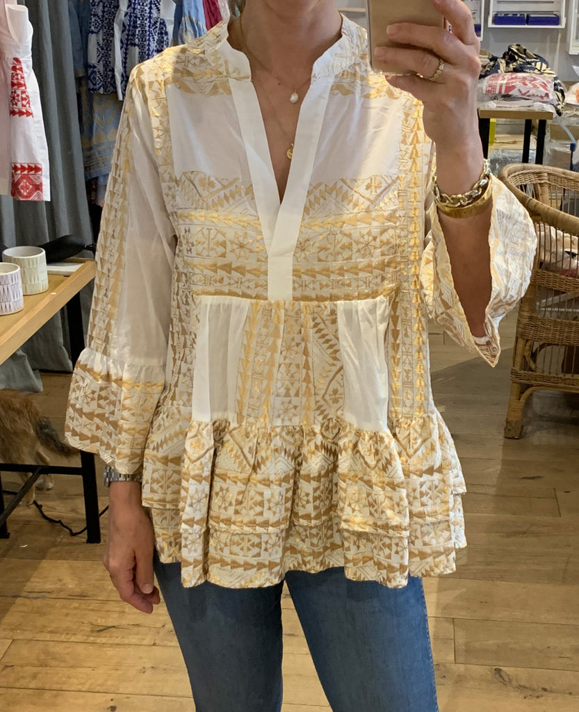 EMBROIDERED BLOUSE WHITE/GOLD