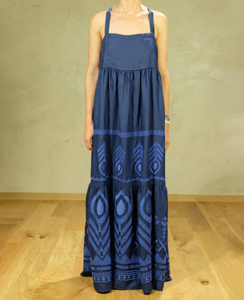 FEATHER LINEN STRAPPY DRESS NAVY/BLUE