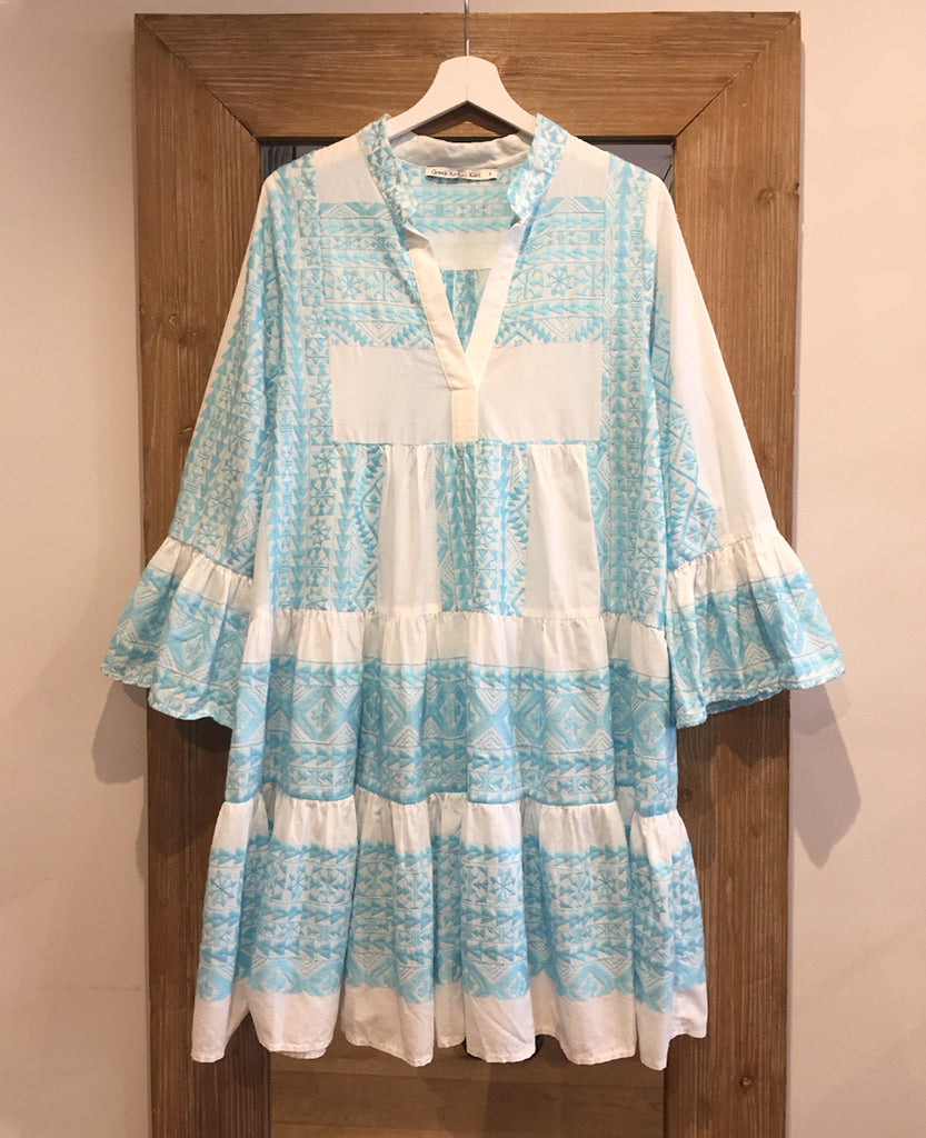 SHORT EMBROIDERED DRESS WHITE/FRESH BLUE