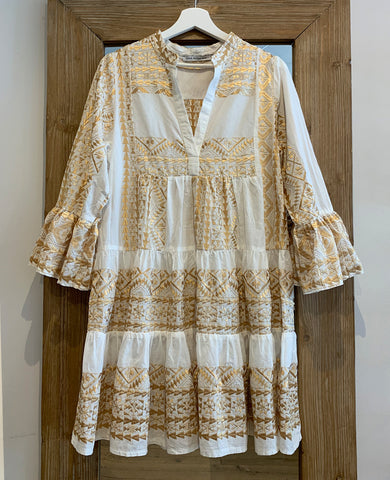 SHORT EMBROIDERED DRESS WHITE/GOLD