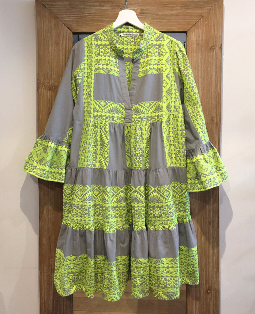 SHORT EMBROIDERED DRESS NEON YELLOW