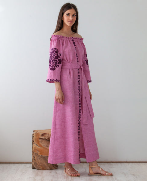 ASTYPALAIA EMBROIDERED OFF SHOULDER DRESS