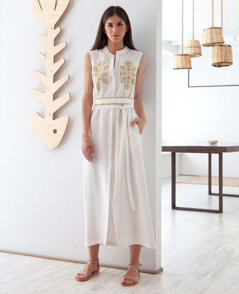 DAREIA EMBROIDERED LINEN DRESS WHITE
