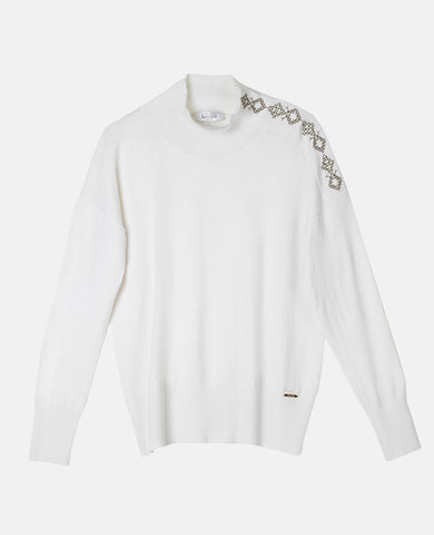 "EMBROIDERED SWEATER ""PINDOS"" OFF-WHITE"