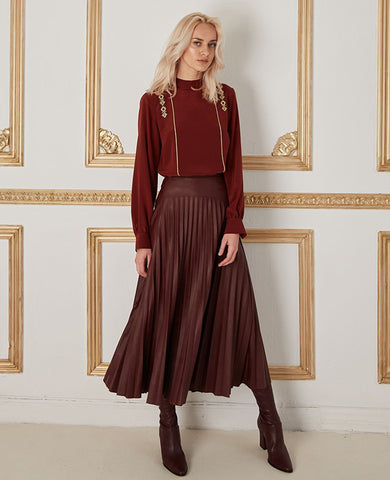 "VEGAN LEATHER SKIRT ""ROXANI"" BURGUNDY"