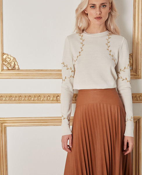 "VEGAN LEATHER SKIRT ""ROXANI"" CAMEL"