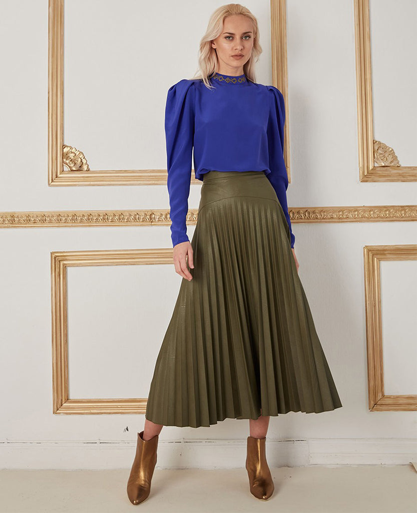 "VEGAN LEATHER SKIRT ""ROXANI"" GREEN"