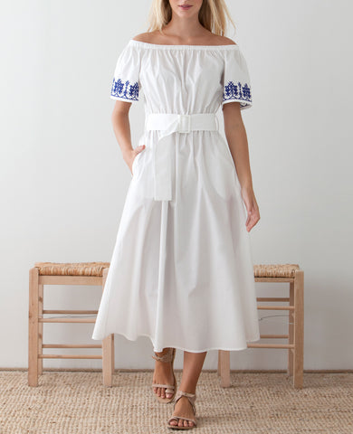 NIOVI OFF-SHOULDER DRESS WHITE