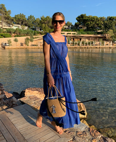 MYKONOS STRAPPY SILK-COTTON DRESS