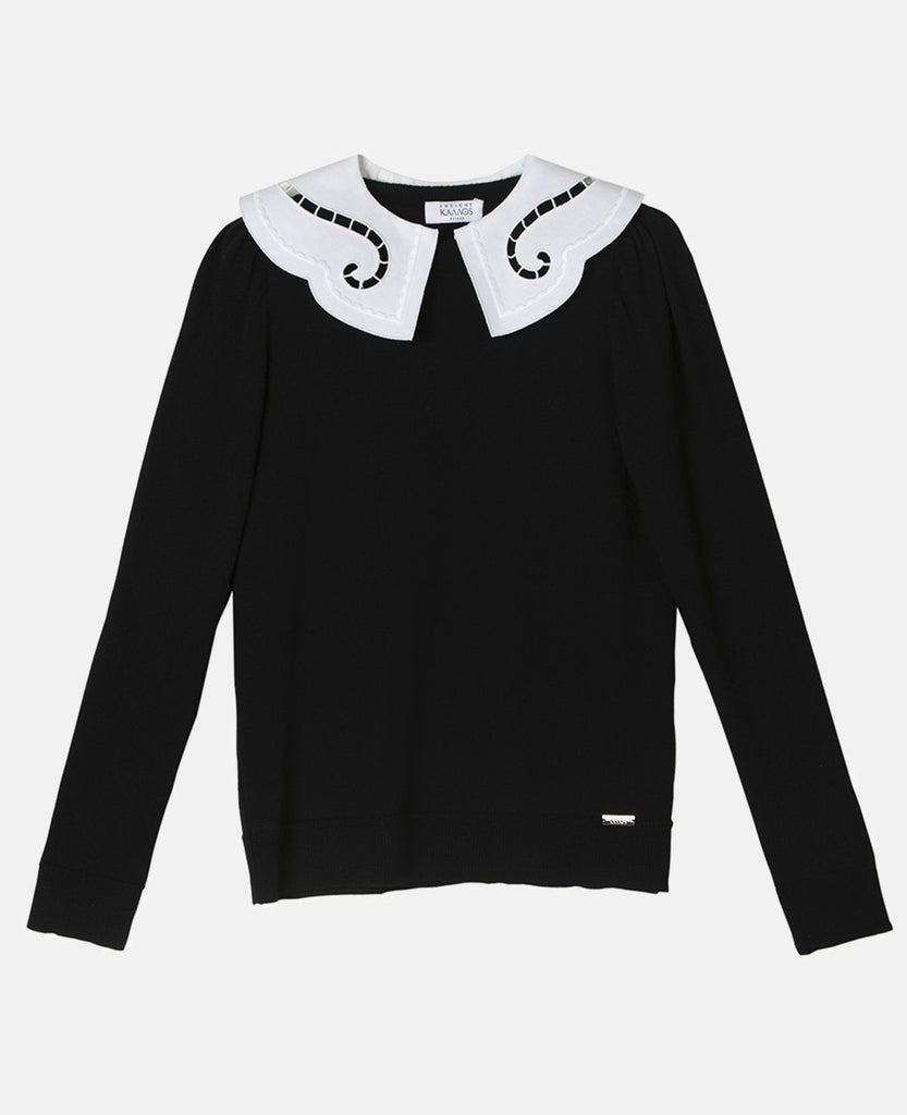 "SWEATER ""IPHIGENIA"" WITH EMBROIDERED COLLAR BLACK"