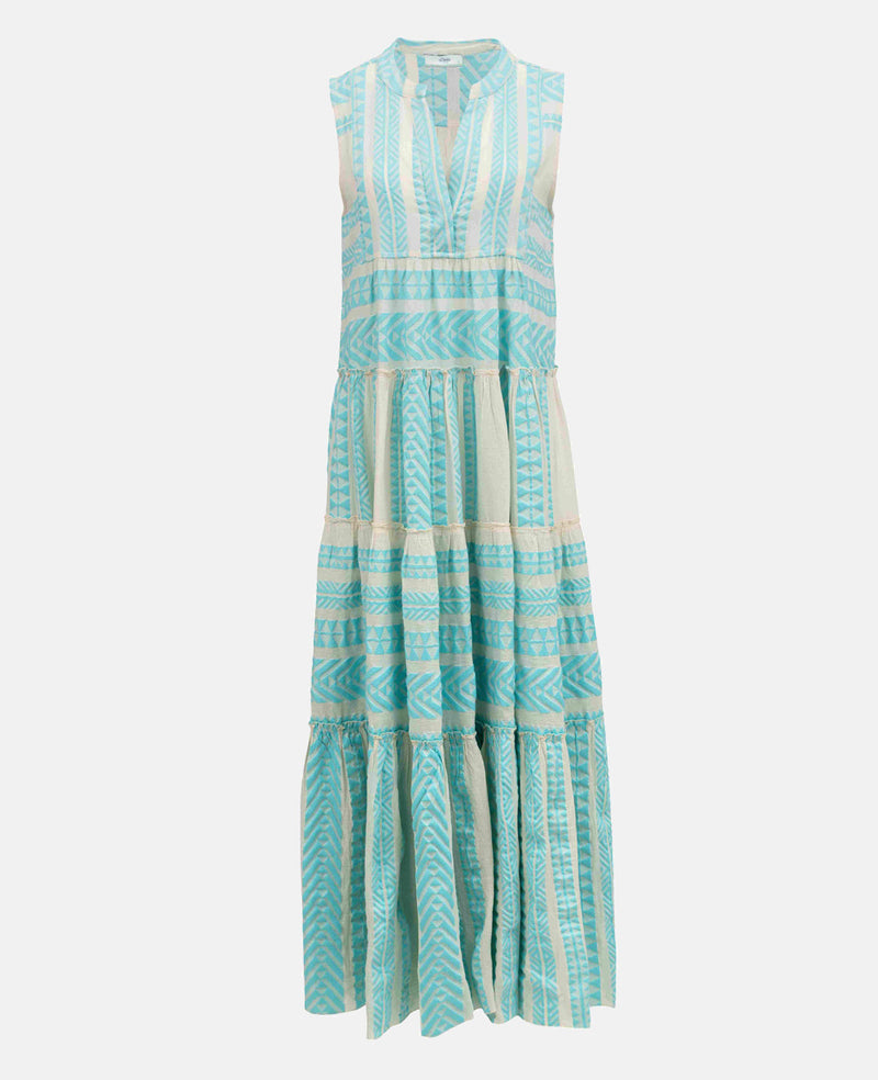 ELLA LONG SLEEVELESS DRESS WHITE/NEON LIGHT BLUE