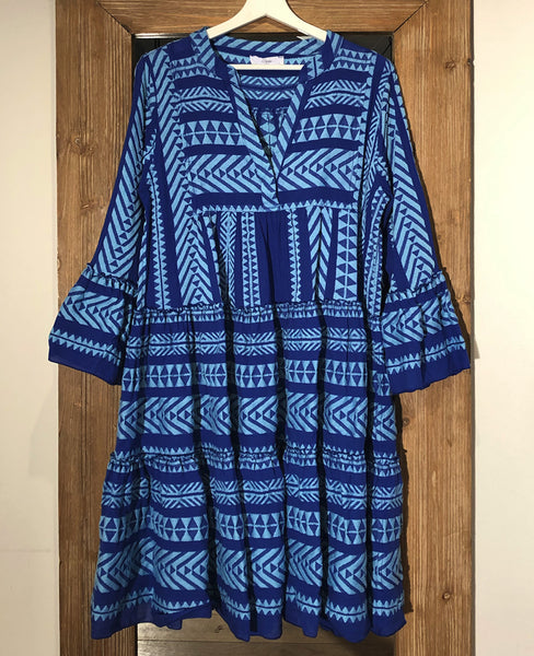 ELLA MIDI TUNIC DRESS BLUE/NEON LIGHT BLUE