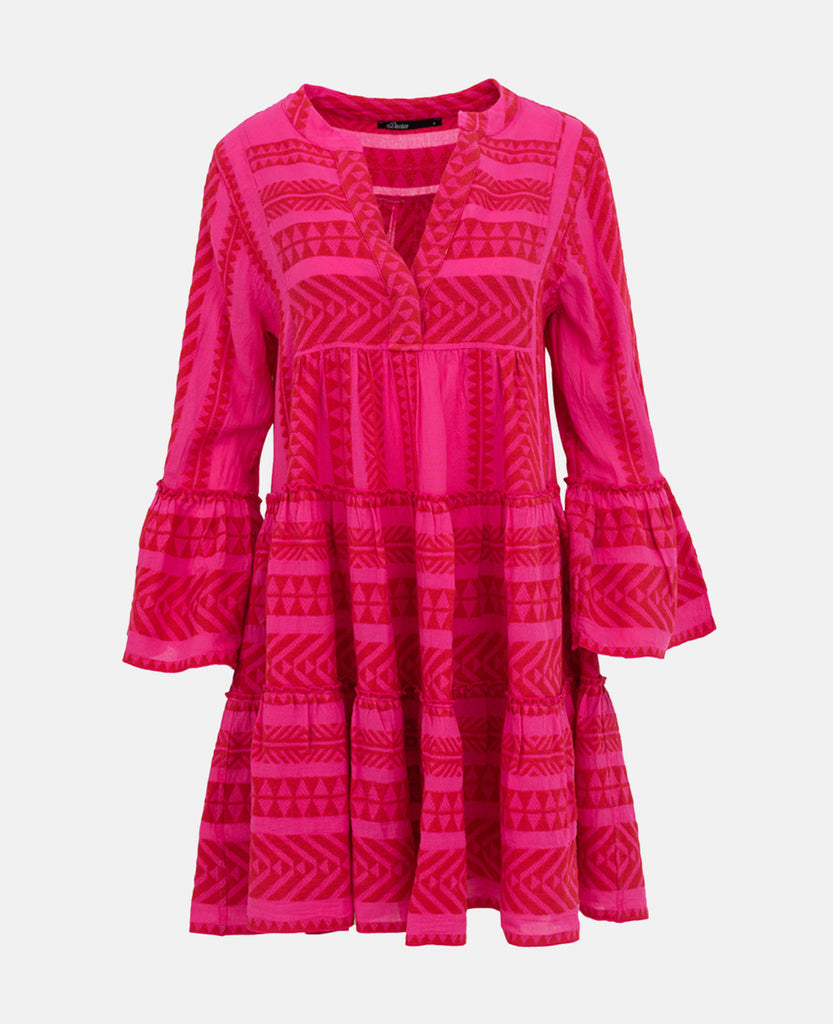 ELLA TUNIC DRESS FUCHSIA/NEON RED