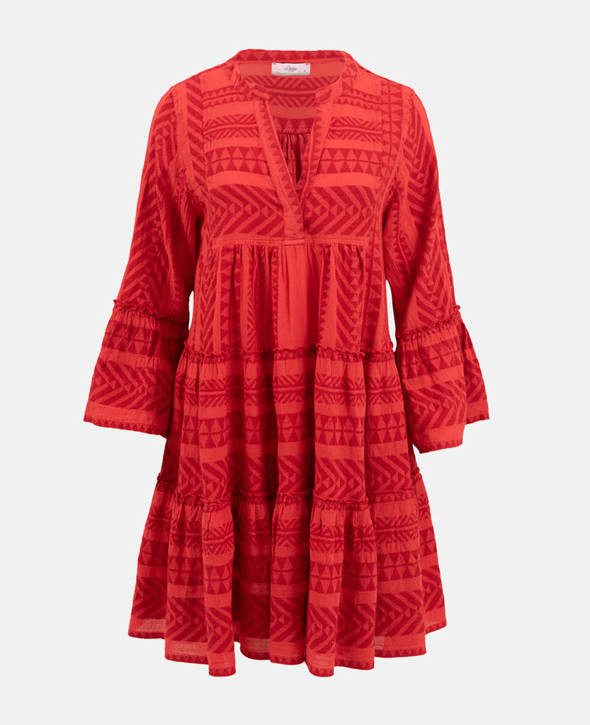 ELLA TUNIC DRESS NEON RED/RED