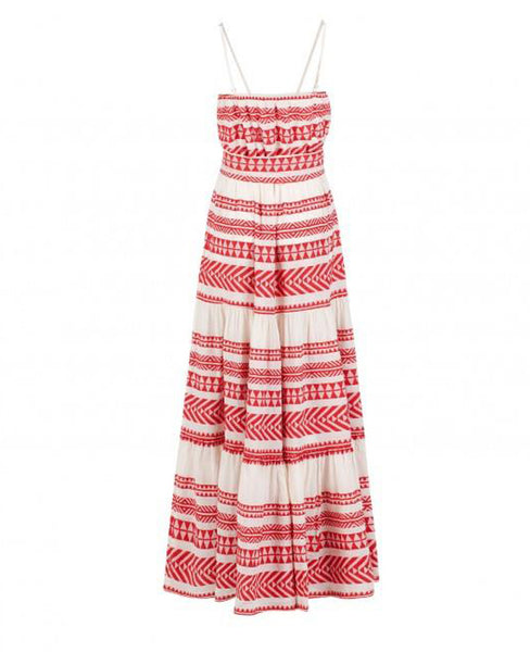 DEVOTION TWINS KLEID ROT LANG / EMBROIDERED DRESS LONG ...