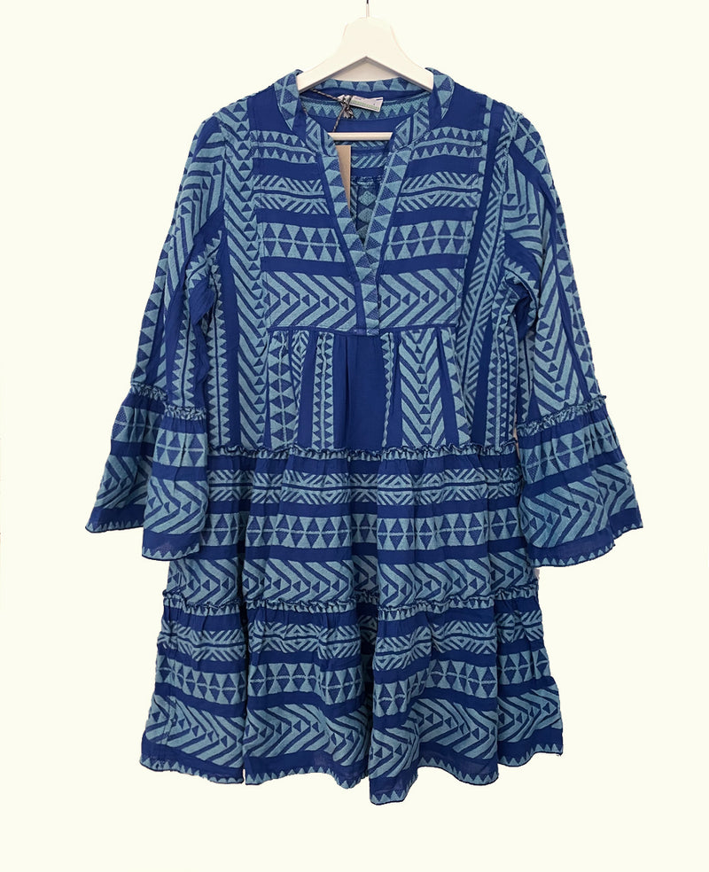 ELLA TUNIC DRESS BLUE/NEON LIGHT BLUE