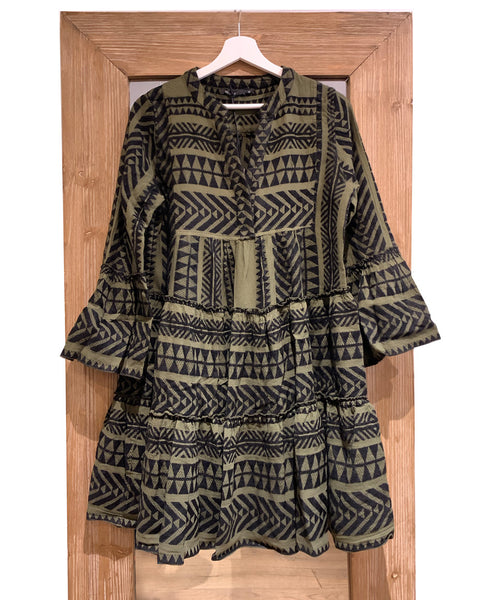 WINTER TUNIKA DRESS KHAKI-BLACK